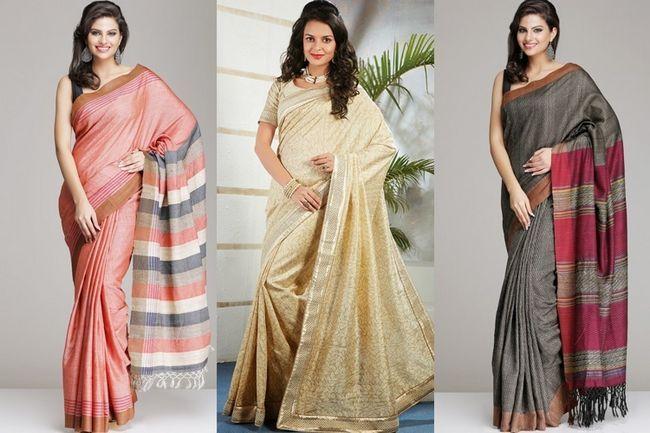 Tussar sari de seda: a seda selvagem que é vestir-se gerações