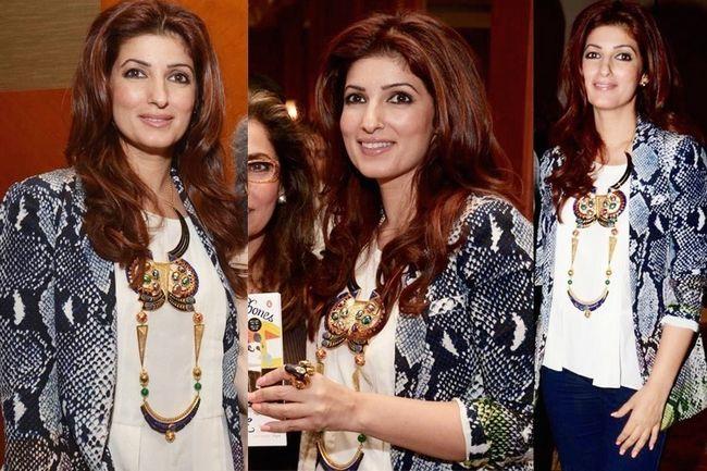 Twinkle khanna faz um denim simples e elegante olhar superior