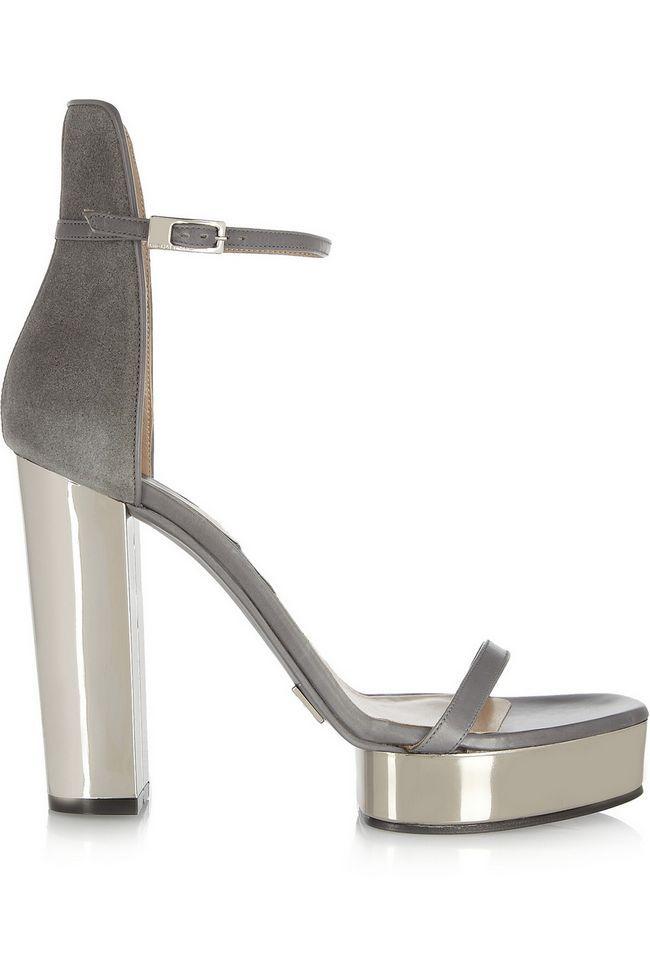 MICHAEL KORS Suede e sandálias plataforma em couro