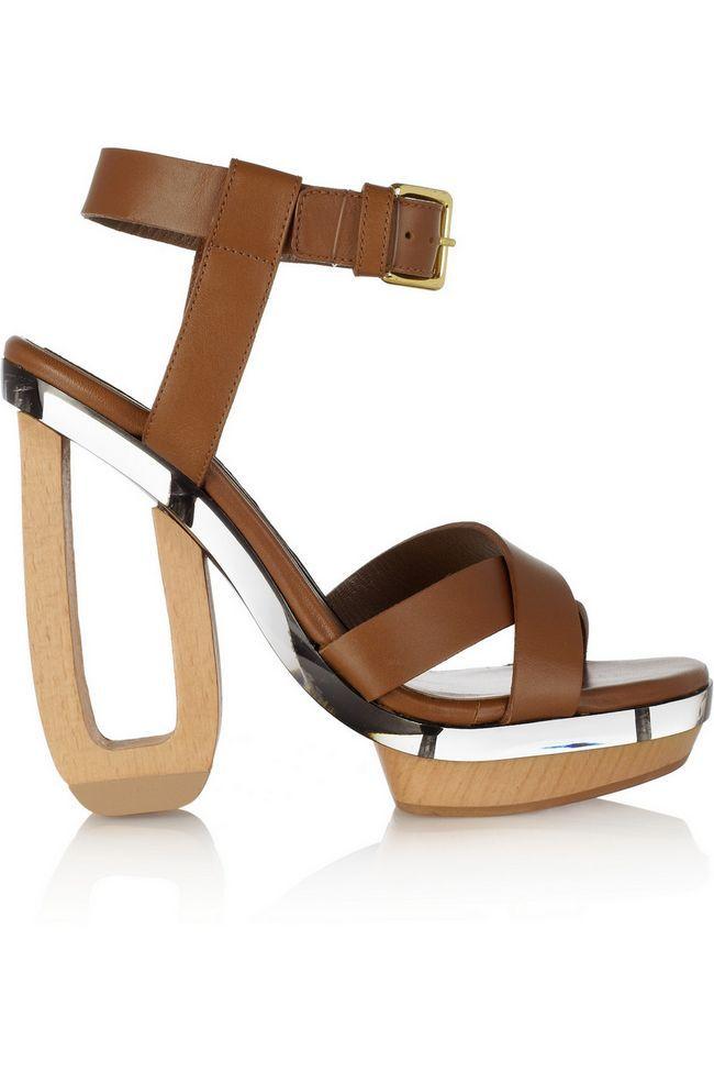 Sandálias de couro, madeira e perspex Marni