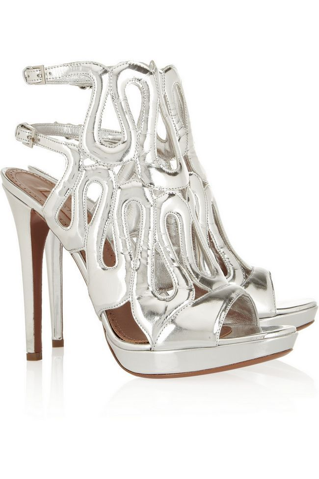 Alaïa metálicas sandálias de couro de prata
