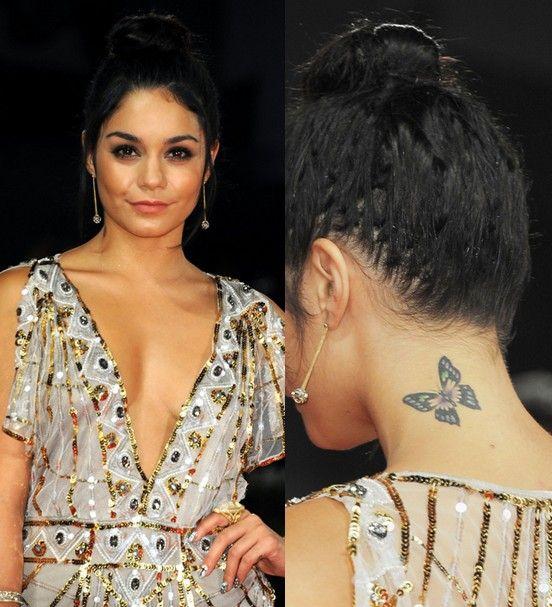 Tatuagens `vanessa hudgens - tatuagem de borboleta no pescoço