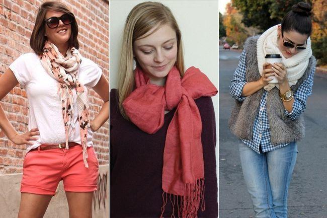 Várias maneiras como usar lenços como acessórios, enquanto enfrentando o frio