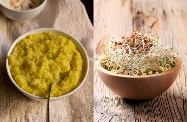 Khichdi e salada de broto