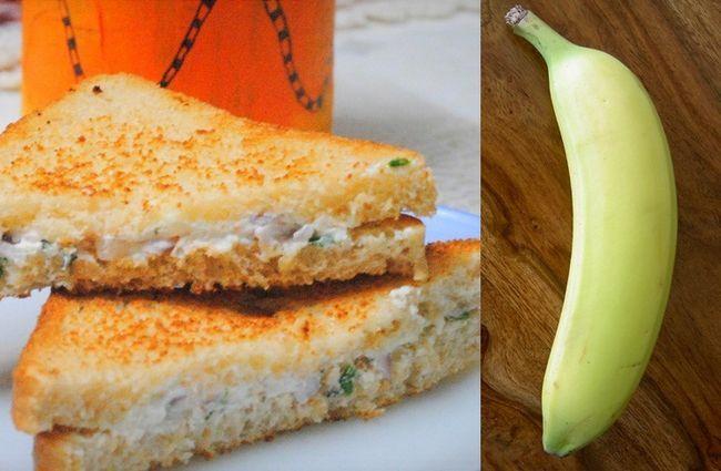 Hung sanduíche de requeijão e banana