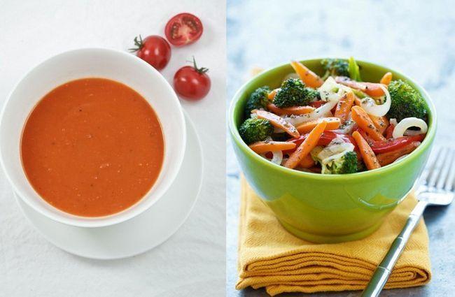 sopa de tomate com legumes refogados