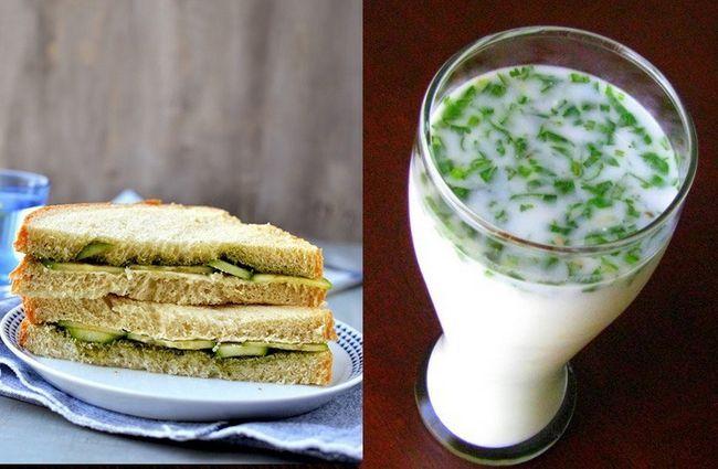 sanduíche de pepino e manteiga leite