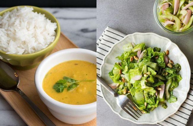 Dal com arroz branco e salada verde