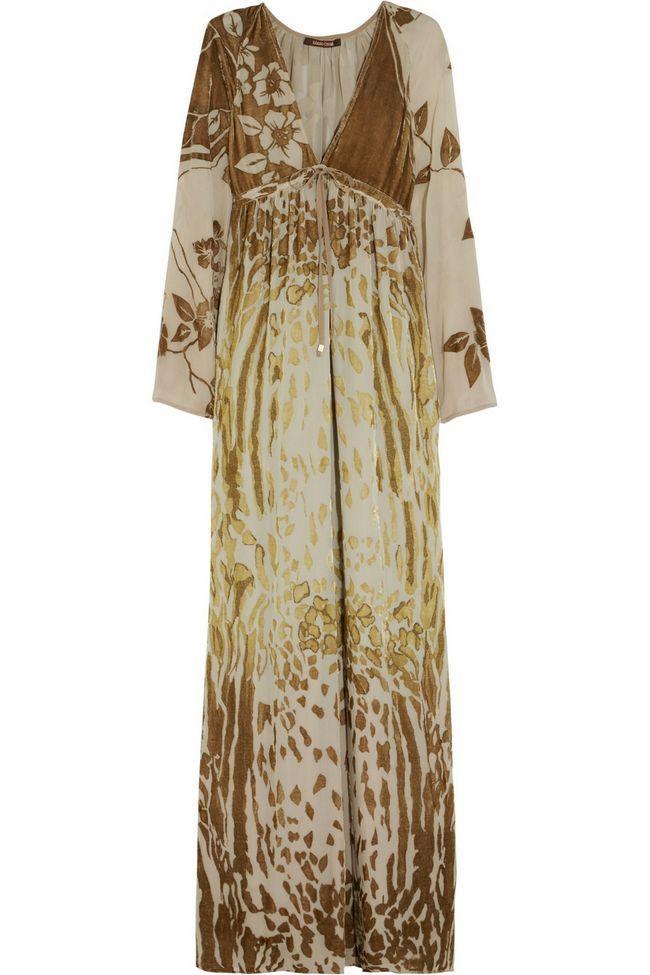Roberto Cavalli taupe, bege e vestido dourado