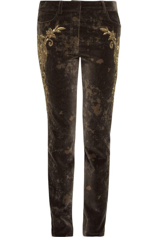 calças de Roberto Cavalli tonal-marrom