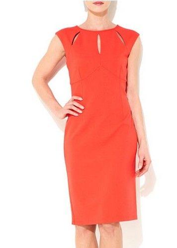 Wallis Vestido de recorte em um tom caqui de laranja