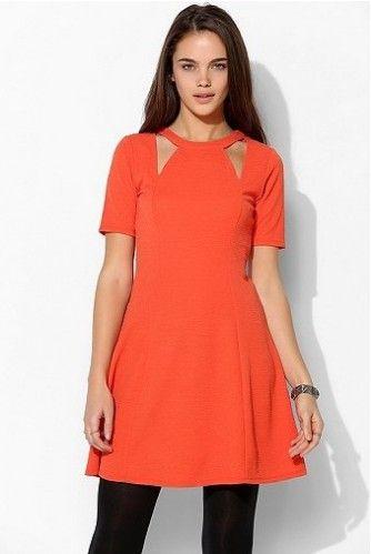 Urban Outfitters recorte vestido em um tom caqui de laranja