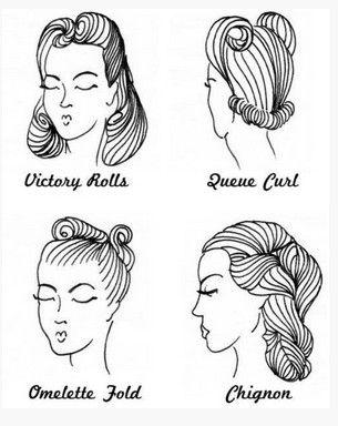 Pin up penteados vintage para mulheres