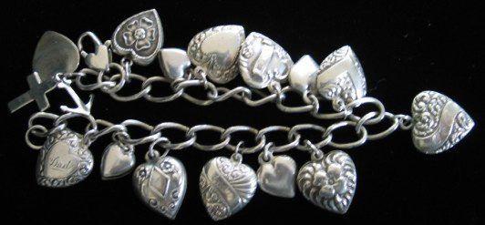 prata antiga pulseira coração encanto