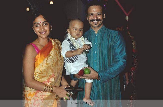 Vivek oberoi e mulher priyanka bebé bem-vindo