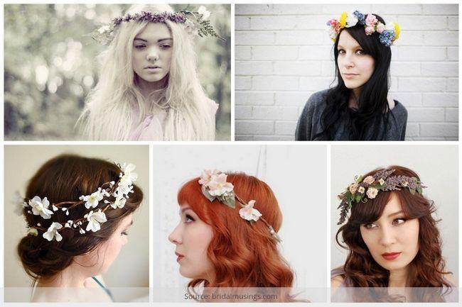 Usar uma coroa de flores de casamento muito boêmio em seu casamento