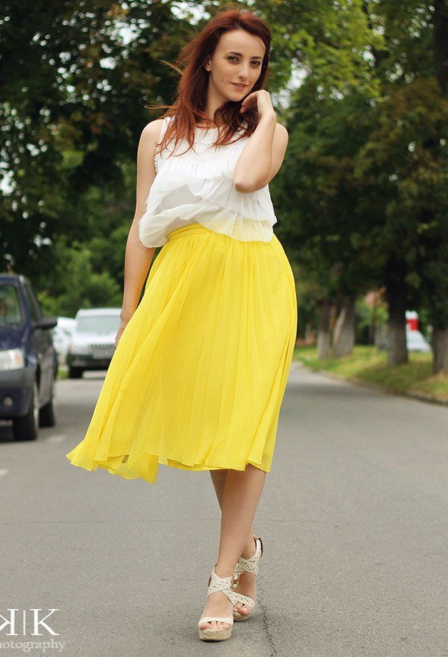 Idea Outfit saia amarela com fatias