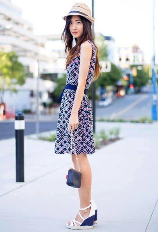 Impresso Vestido Outfit com Cunhas
