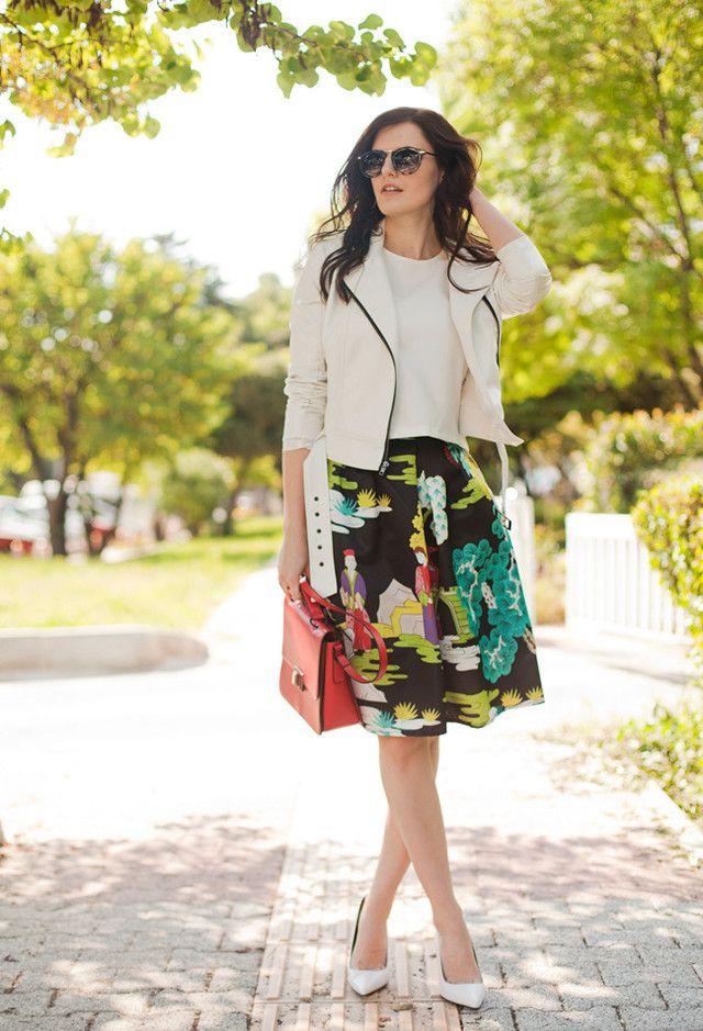 Impresso Idea saia Outfit para o Outono de 2014