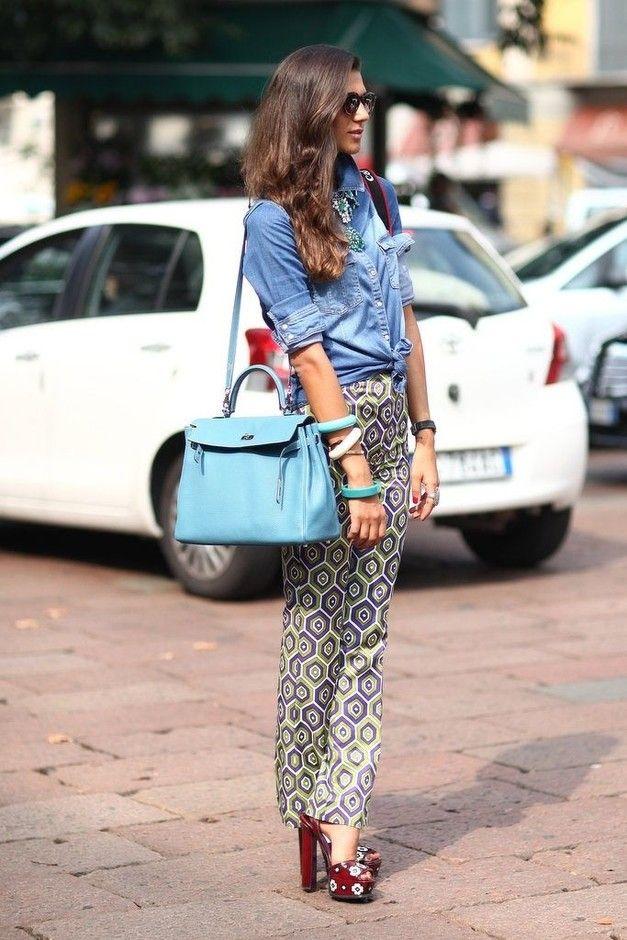 Calças impressas com Blusas Jeans