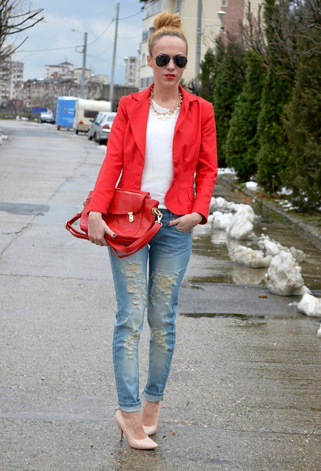 Idea T branco Outfit com jeans rasgado