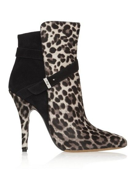 Tabitha Simmons Hunter cabelos bezerro com estampa de leopardo e ankle boots de camurça