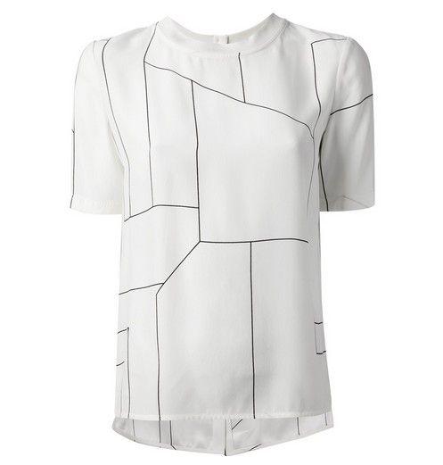 T-shirt gráfico TEORIA Klima marfim de seda para roupa de trabalho