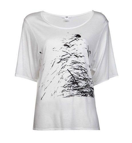 T-shirt impressão gráfica barco branco pescoço HELMUT LANG para roupa de trabalho