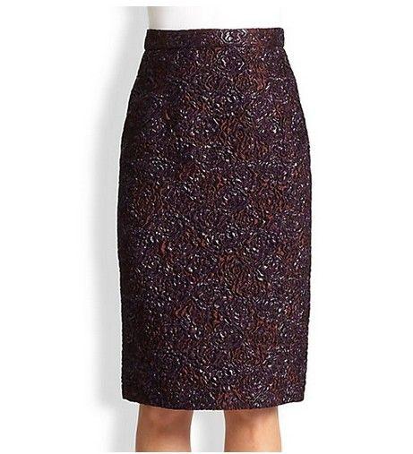 Erdem Aysha Brocade Pencil Skirt para roupa de trabalho