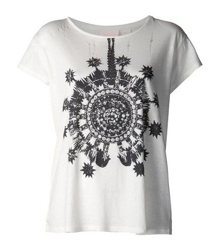 SASS & BIDE`Raise the Bar` white boat neck graphic print T-shirt for work outfit